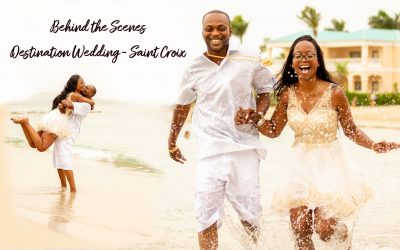 Behind the scenes of Shavon and Sam's Saint Croix destination wedding engagement shoot.