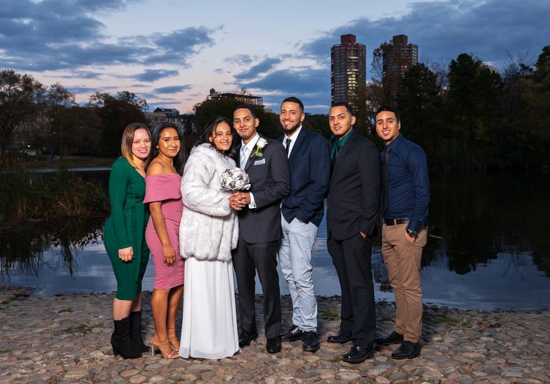 Harlem Meer Lake Central park wedding photo