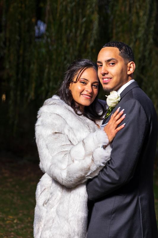 weeping willow night wedding photo